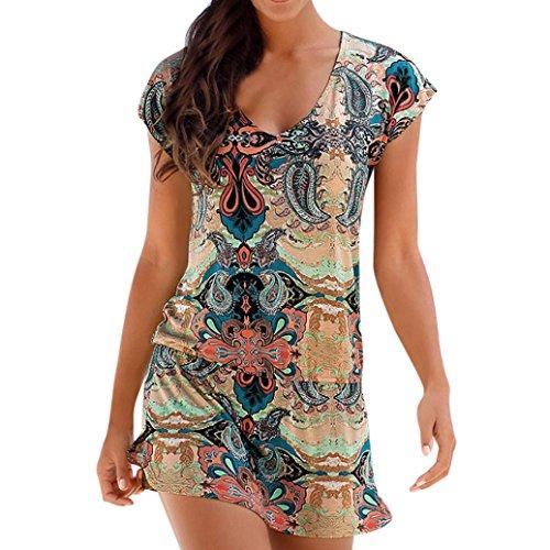 Honestyi Damen Maxikleider Sommerkleider vintage Boho Blumen Kleid Neckholder Printkleider Partykl