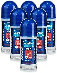 6x Vaseline Men ACTIVE DRY 48H Roll-On Anti-Perspirant Deodorant 50ml