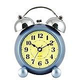 ZML Neue Umweltschutz Moderne Mode Einfache Kreative Klassische Persönlichkeit Stumm Wecker Schöne Schöne Runde Doppel Glocke Wecker (Farbe : Hellblau)