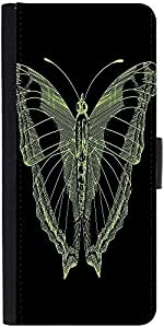 Snoogg Bright Butterfly On Black Bacground Designer Protective Flip Case Cove...