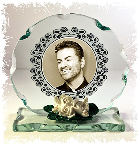 GEORGE MICHAEL Sepia Foto Schnitt Glas rund Rahmen Plaque besonderen Anlass Limited Edition