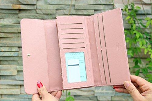 CC * CD pelle sintetica donne portafogli portamonete porta carte di credito frizione case, Pelle in poliuretano, Rosy, 19x10x2.5cm Royal Blue