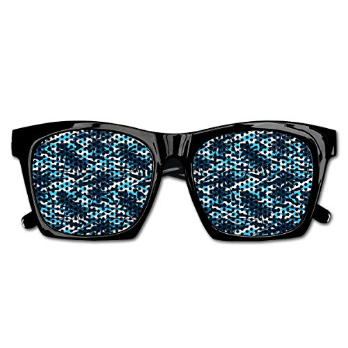 EELKKO Mesh Sunglasses Sports Polarized, Fractal Looking Geometric Backdrop In Blue Shades with Tree Silhouettes,Fun Props Party Favors Gift Unisex