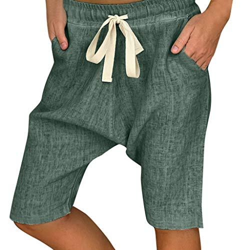 Zolimx Damen Leinenhose Sommerhose Elastische Stoffhose Solide Kurze Hosen, Frauen plus Größen-Komfort-gerade breites Bein-Lose feste Taschen-Hosen-Hosen -