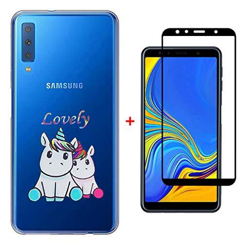 Custodia Samsung Galaxy A7 2018 A750 Cover + Pellicola Protettiva in Vetro Temperato, Laixin Trasparente Silicone Custodie Protettivo TPU Gel Sottile Case, Amanti degli unicorni