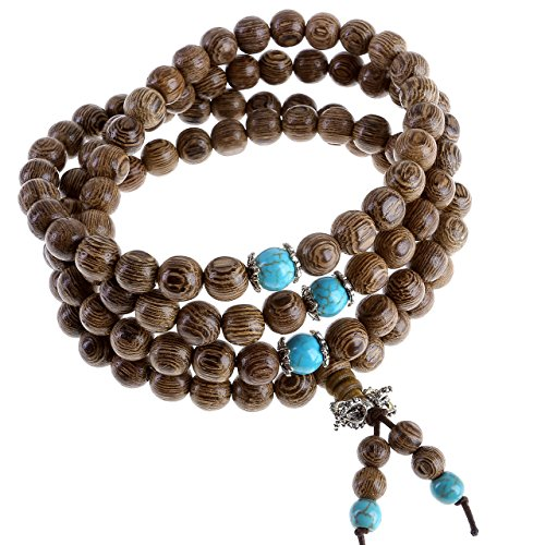 JOVIVI Yoga Schmuck 108 Perlen Gebetskette 8mm Buddha Tibetisches Holz Armband Wickelarmband Buddhismus Mala Kette Halskette