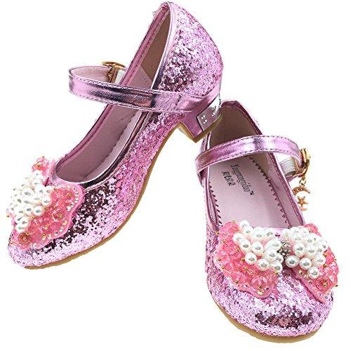 Tyidalin Prinzessin Schuhe mit Absatz Mädchen Kostüm Ballerina Schuhe - Schleife und Pailletten Karneval Festlich für Kinder Blau Rosa EU25-36 Rosa