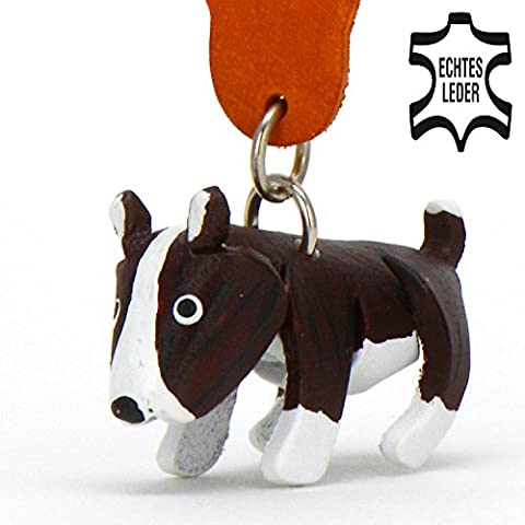 Bull Terrier Balu - Hunde Schlüsselanhänger Figur aus Leder von