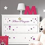 Wandaro Wandtattoo Kleine Prinzessin mit Sternen + Krone I weiß (BxH) 46 x 9 cm I passend für IKEA HEMNES Kommode Wandaufkleber Wandsticker Aufkleber W3340