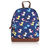 SALE SALE - New Childrens Designer Style Canvas/UNICORN/UMBERILLA/ ANCHOR/ELEPHANT/RABBIT/BLOSSOM FLOWER/CRITTERS/WHALE Print Backpack Bag - JC Kids 'Back to School' Collection (Unicorn-D Blue)