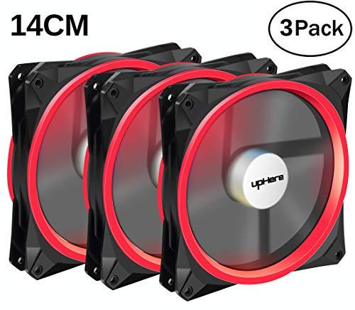 upHere Gehäuselüfter LED Quiet Edition 140mm High Airflow Rot LED Lüfter,3-pin,3er Set Gehäuselüfter(14CMR3-3)