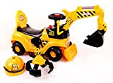 RICCO® 2 in 1 Ride On Toy Digger Excavator Grabber Bulldozer with Helmet