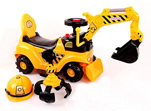 RICCO� 2 in 1 Ride On Toy Digger Excavator Grabber Bulldozer with Helmet