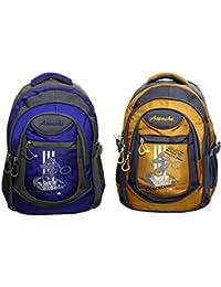Attache Stylish School Bag (Royal Blue & Yellow) Set Of 2