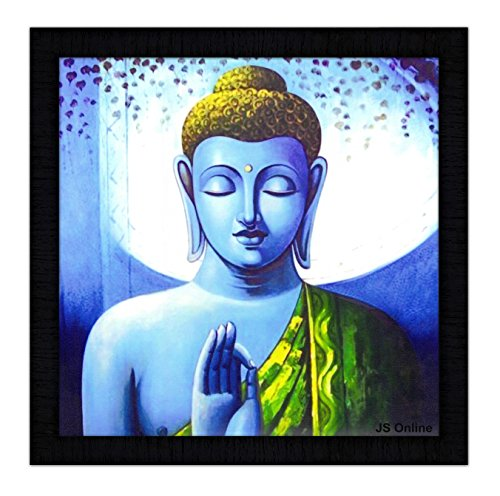 JSOnline Buddha Paintings || buddha painting || buddha wall paintings || Buddha wall stickers || Buddha wall Poster || buddha canvas painting || buddha paintings framed || buddha paintings with frame || buddha wall painting with frame || large size for living room || bed room || home decor || home decoration synthetic wooden frame size 35.5 cm X 2 cm X 35.5 cm  available at amazon for Rs.299