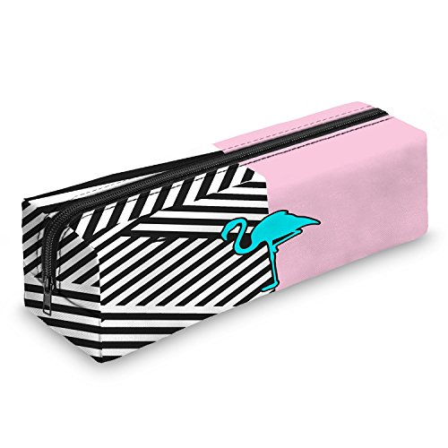 ngo Design Print Zipper School Uni Pencil Case - Pink And Straps ()