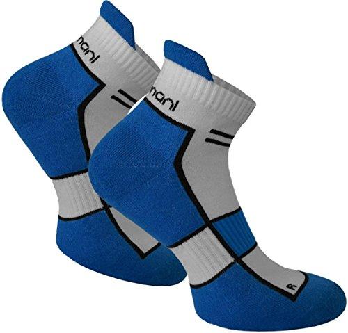 normani 2 Paar bis 10 Paar Sneaker Running Laufsocken Funktionssocken mit Frotteesohle und Stützfunktion Farbe Cobald Größe 47/50-10 Paar