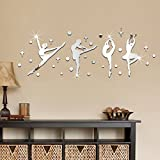 Ballet Girl Acrylic Mirror Wall Stickers DIY Dance Classroom Decoration,Silver-100*36cm