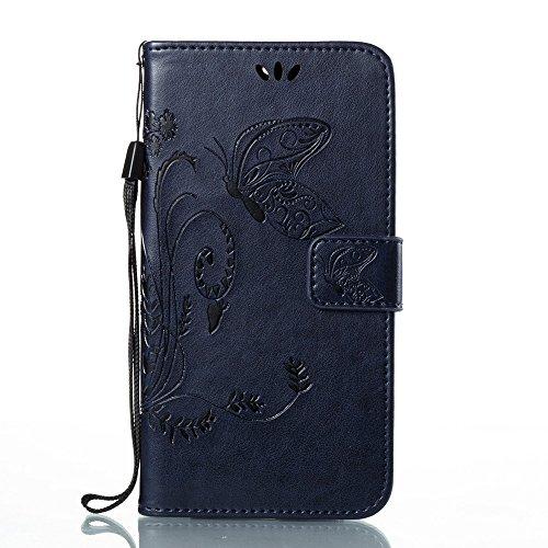 EKINHUI Case Cover Solid Color Faux Leder Bookstyle Brieftasche Stand Case mit geprägten Blumen & Lanyard & Card Slots für MOTO G6 ( Color : Gray ) Darkblue