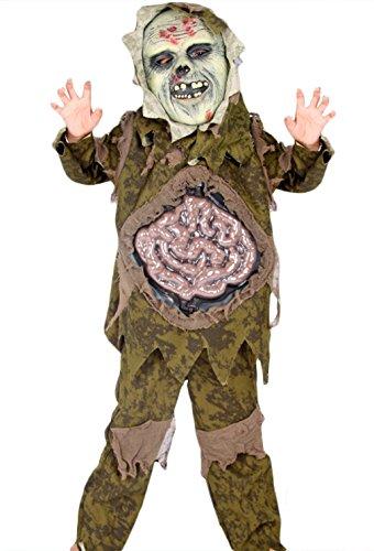 EOZY Jungen Skeleton Zombie Kinder Halloween Kostüm Großer Darm Ghost Gown mit Maske Grün Größe 110cm