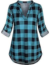 Camisa a Cuadros clásica,Blusa con Cuello en V de Manga Larga con