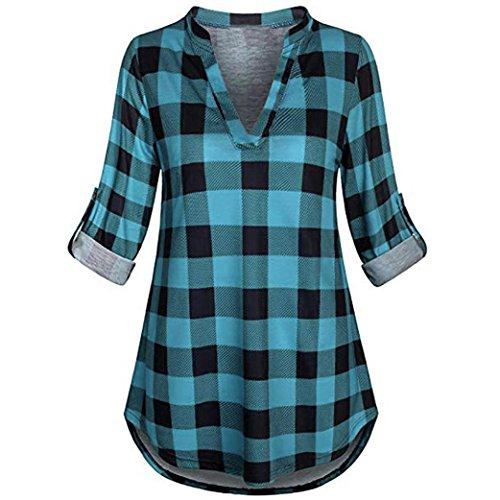❤️ Camisa a Cuadros clásica,Blusa con Cuello en V de Manga Larga con Cuello en V y Manga Larga para Mujer Absolute