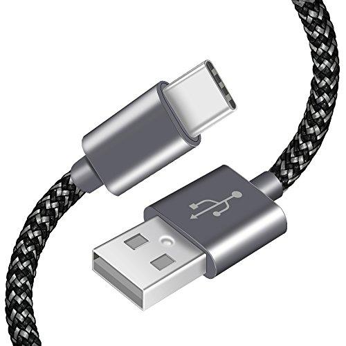 Câble USB Type-C AOSTA [Lot de 3/2M] Cable USB C Data Chargeur Type C en Nylon avec connecteur en aluminium vers USB C Cable pour Samsung Galaxy s8,Nouveau Macbook Pro, ChromeBook Pixel,Nexus 5X/6P,Oneplus 2/3,HTC M10,Meizu Pro 5/6 et Plus(Gris&Noir)