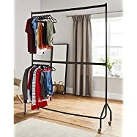 Direct Online Houseware Two Tier Heavy Duty Clothes Rail Garment Hanging Rack In Black - NO TOOLS required - Metal (6ft Long x 7ft Tall)