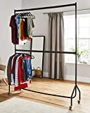 à deux étages Tringle à vêtements robuste vêtement à suspendre Rack en métal Noir-pas besoin d'outils-(1,8m de long x 2,1m de hauteur)...