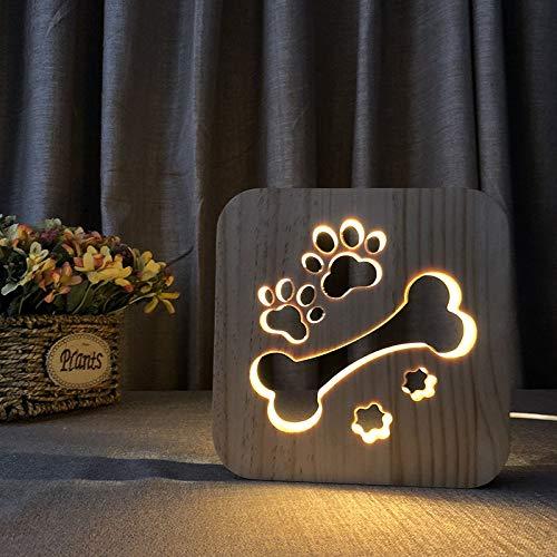 Night Light Home Neue exotische kreative Tischlampe 3D Nachtlicht Massivholz hohl geschnitzten LED-Lampe Knochen mit Hund Pfote Form -