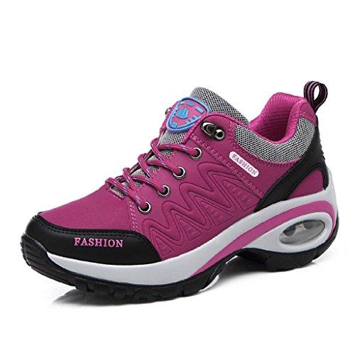 T-Gold Air Zapatillas Deportivas de Mujer Aire Libre Correr Running Gimnasio Zapatos Talón 6 cm(EU 37,Rosado)