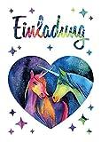 12 Einladungskarten Einhorn Kindergeburtstag Mädchen Unicorn Geburtstagseinladungen Einladungen Geburtstags-Party Kartenset