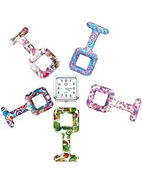 JSDDE Uhren,5x Krankenschwester FOB-Uhr Quadrat Silikon Damen Herren Schwesternuhr Taschenuhr Quarzuhr Uhren Set