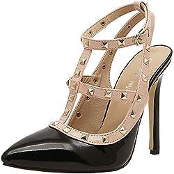 2014 neue Sommer-Mode-Weinlese-Nieten-Frauen-Absatz Spitze Schuhe Sexy Süßigkeit-Farben-Damen weiblich Partei Pumpen (37, schwarz)