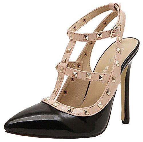 2014 neue Sommer-Mode-Weinlese-Nieten-Frauen-Absatz Spitze Schuhe Sexy