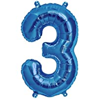 40cm Aire Llena Número 3 globo azul (deflactado)
