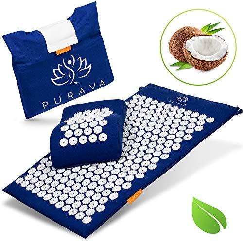PURAVA Premium Akupressurmatte - Inklusive E-Book mit Anleitung und Anti Stress Guide - Umweltfreundliche Massagematte gefüllt mit Kokosfasern - Mit Gratis Transporttasche