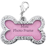 Foodie Puppies Bone Shape Collar Mini Frame Tag Cum Pendant for Dog/Puppy/Kitten/Cat (Color May Vary) - Small