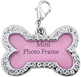 #2: Foodie Puppies Metal Bone Shape Collar Mini Frame Tag Cum Pendant for Pet, Small (Colour May Vary, FP Frame Collar Tag)