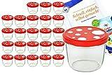MamboCat 24er Set Sturzglas 230 ml To 82 Fliegenpilz Deckel rot weiß gepunktet incl. Diamant Gelierzauber Rezeptheft
