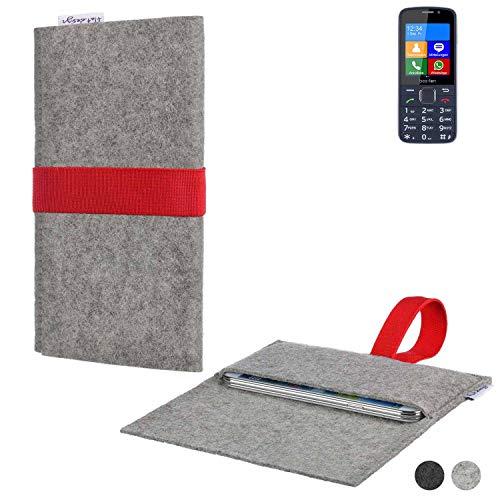 flat.design Handy Hülle Aveiro für bea-fon SL820 maßgeschneiderte Handytasche Filz Tasche Sleeve Pouch Grau rot