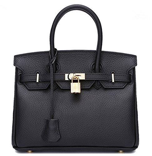 Sacs à main pour femme Xinmaoyuan Litchi Bar d'Packcowhide Sac à bandoulière sac à main Platinum Black