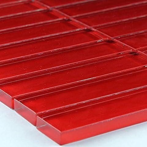 Glas Mosaik Fliesen Uni Rot Stäbchen 23,5x100x8mm