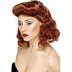 Smiffy's Smiffys-42223 Star Chica glamourosa, castaña rojiza, con rizos sueltos, tamaño único