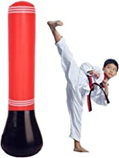 Boxsack Stehend Standboxsack Kinder Erwachsene Punchingball Boxen Set,160mm Aufblasbarer Freistehender Boxsack Punching Tower Kickboxen Trainingsgeräte Boxsack Ständer mit Air Inflator Pumpe Rot
