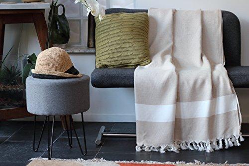 Allée Déco Jeté de canapé, Plaid ou Couvre-lit 100% Coton Naturel de Haute qualité | Modèle Beige de Taille XL 150 x 250 cm | Tissage Traditionnel Chevron