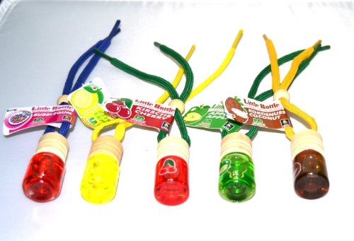 5 Stück L&D elegante Duftflakons fürs Auto Little Bottle MIX 5: Je 1 Duftflakon in Cherry (Kirsche), Bubble Gum (Kaugummi), Lemon (Zitrone), Coconut (Kokosnuss), Apple (Apfel) a 5ml - 5 Stück Kirsche