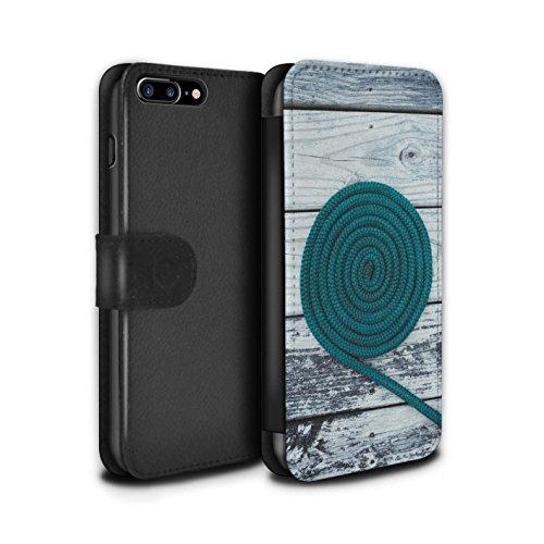 STUFF4 PU-Leder Hülle/Case/Tasche/Cover für Apple iPhone 7 / Bokeh/Funkeln/Fokus Muster / Teal Mode Kollektion Seil/Holz/Deck