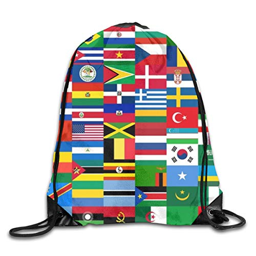Drawstring Backpack Bags Flags Quiz Games Sport Athletic Gym Sackpack for Men Women
