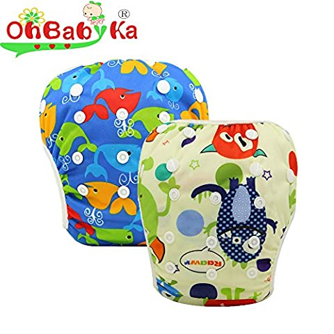 OhBabyKa Couche bébé réutilisable et lavable pour bain et piscine, taille unique